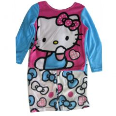 Hello Kitty Big Girls Blue White Kitty Image Bow Print 2 Pc Pajama Set 8-10