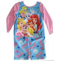 Disney Big Girls Sky Blue Princesses Heart Print 2 Pc Pajama Set 8-10