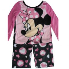 Disney Little Girls Pink Black Minnie Mouse Heart 2 Pc Pajama Set 4-6