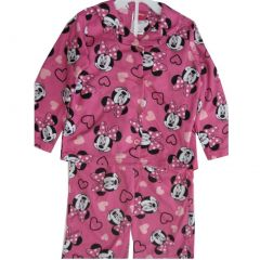 Disney Little Girls Pink Black Minnie Mouse Heart Pajama Set 4-6