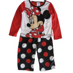Disney Little Girls Black Red Dotted Minnie Mouse 2 Pc Pajama Set 2T-4T
