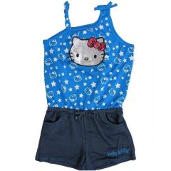 Hello Kitty Little Girls Royal Blue Star Glittery Applique Romper 4-6X