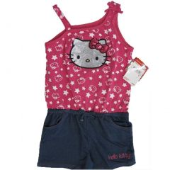 Hello Kitty Little Girls Fuchsia Blue Star Glittery Applique Romper 4-6X