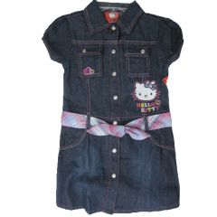 Hello Kitty Little Girls Blue Denim Plaid Waistband Button Dress 4-6X