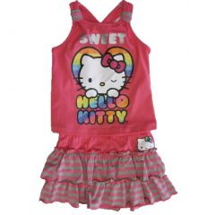 Hello Kitty Little Girls Pink Orange Striped Tiered 2 Pc Skirt Outfit 4-6X