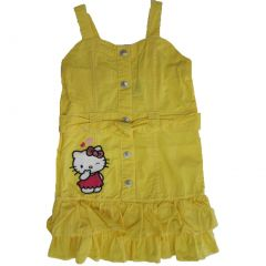Hello Kitty Little Girls Yellow Waistband Ruffle Hem Button Dress 4-6X