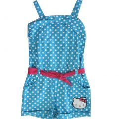 Hello Kitty Little Girls Blue White Dotted Studded Applique Romper 4-6X