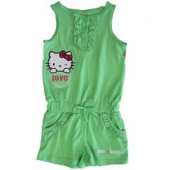 Hello Kitty Little Girls Lime Green Ruffled Applique Romper 4-6X