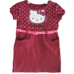 Hello Kitty Little Girls Burgundy Pink Heart Belt Dress 4-6X