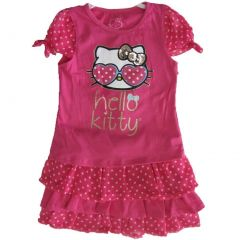 Hello Kitty Little Girls Fuchsia Dotted Glittery Applique 2 Pc Skirt Set 4-6X