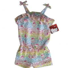 Hello Kitty Little Girls White Spotted Ruffle Strappy Short Romper 4-6X