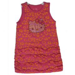 Hello Kitty Little Girls Fuchsia Orange Spot Rusching Trims Dress 4-6X