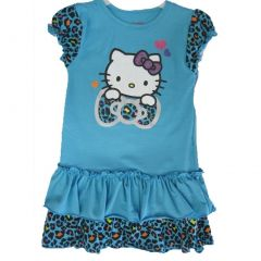 Hello Kitty Little Girls Turquoise Leopard Spotted Glittery Ruffled Dress 4-6X