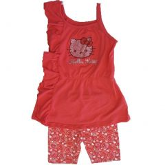 Hello Kitty Little Girls Coral Fuchsia Ruffle Top 2 Piece Shorts Set 4-6X
