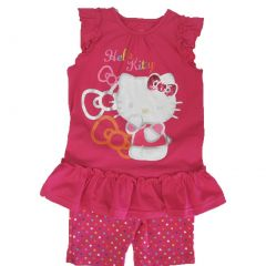 Hello Kitty Little Girls Fuchsia Ruffle Applique Dot 2 Pc Shorts Set 4-6X