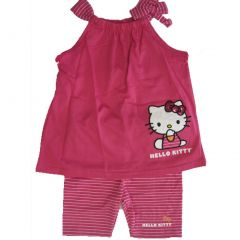 Hello Kitty Little Girls Fuchsia Bow Strap Sleeve 2 Pc Pants Set 4-6X