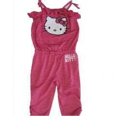 Hello Kitty Little Girls Pink White Thin Striped Ruffle Pants Romper 4-6X