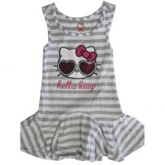 Hello Kitty Little Girls Grey White Striped Applique Gown 4-6X