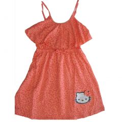 Hello Kitty Little Girls Coral Spotted Bow Glittery Applique Dress 4-6X