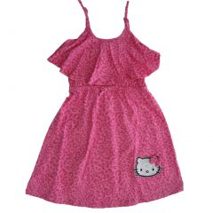 Hello Kitty Little Girls Fuchsia Spotted Bow Glittery Applique Dress 4-6X