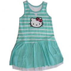 Hello Kitty Little Girls Turquoise White Stripe Glittery Applique Dress 4-6X