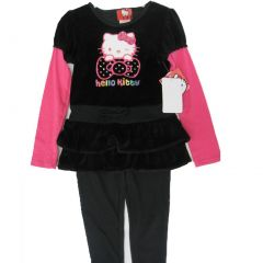 Hello Kitty Little Girls Black Fuchsia Stud Layered 2 Pc Leggings Set 4-6X