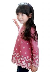 Bunny n Bloom Little Girls Marsala Red Scalloped Embroidered Top 1-6 Years