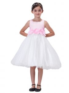 Amberry Girls Multi Color 3D Flower Sash Tea Length Flower Girl 2T-14
