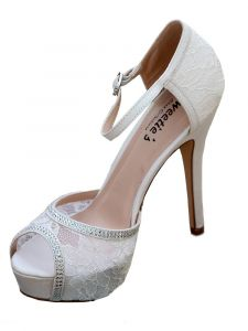 Sweetie's Shoes Womens White Amy Lace Rhinestone Dress Sandals 5.5-11
