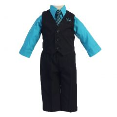 Angels Garment Turquoise 4 Piece Pin Striped Vest Set Boys Suit 5-20