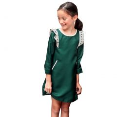 Little Girls Green Magic Bean Ruffle Shoulder Accents Shift Dress 1-6Y