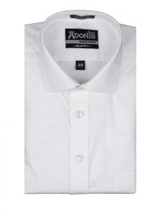 Adonis Little Boys White Solid Slim Fit Cotton Blend Long Sleeve Dress Shirt 4-7