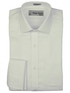 Adam Baker Little Boys White Tonal Stripe Cotton Blend Dress Shirt 2-7