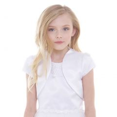Petite Adele Big Girls White Satin High Collar Elegant Classic Bolero 8-18