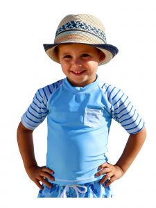 Sun Emporium Baby Boys Sky Blue Stripe Rash Guard Short Sleeve 6-18M