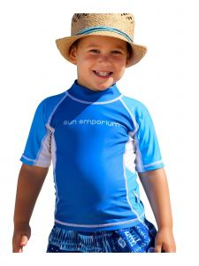 Sun Emporium Baby Boys Royal Azure Multi Panel Short Sleeve Rash Guard 6-18M