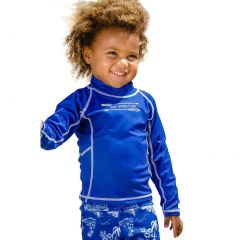Sun Emporium Little Boys Navy Multi Panel Long Sleeve Rash Guard 2-6