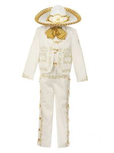 Rain Kids Boys Ivory Rooster Embroidery Elegant 6 Pc Charro Suit 12M-6