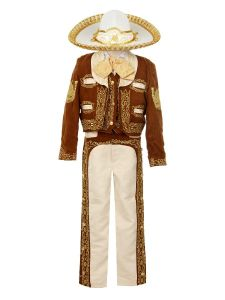 Rain Kids Big Boys Brown Gold Horse Embroidery Elegant 6 Pc Charro Suit 8-12