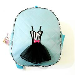 Girls Blue Black Quilted Zebra Tutu Dress Applique Backpack