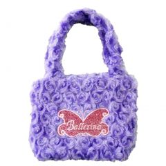 Girls Purple Fuzzy Velvet Glitter Butterfly Ballerina Applique Purse