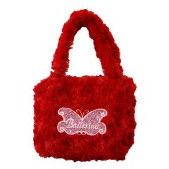 Girls Red Fuzzy Velvet Glitter Butterfly Ballerina Applique Purse
