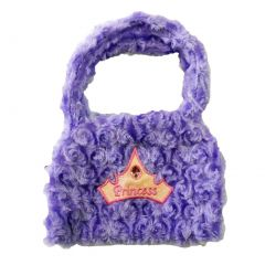 Girls Purple Princess Crown Applique Stone Attached Velvet Purse