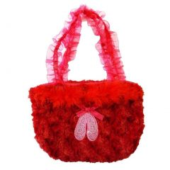 Girls Red Ruffle Straps Faux Ballet Shoes Velvet Purse