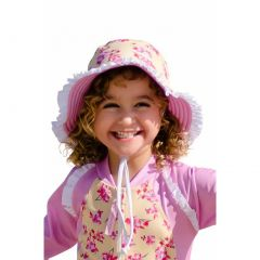 Sun Emporium Girls Yellow Pink Reversible Brim Frill Hat XS-S