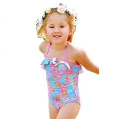 Sun Emporium Baby Girls Blue Pink Sari Paisley Cut Out Detail Swimsuit 6-18M