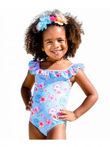 Sun Emporium Baby Girls Pink Coco Flamingo Print Frills One Pc Swimsuit 6-18M