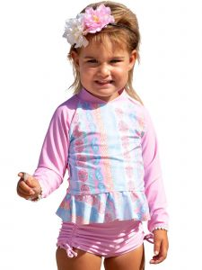 Sun Emporium Baby Girls Arabella Print Long Sleeve Rash Guard Boyleg Set 6-18M