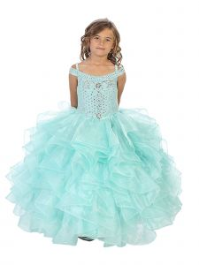 Bijan Kids Girls Multi Color Crystal Off Shoulder Ruffle Pageant Dress 2-16