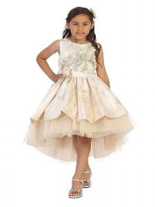 Bijan Kids Little Girls Gold Jaquard Lace Appliques High Low Pageant Dress 2-6